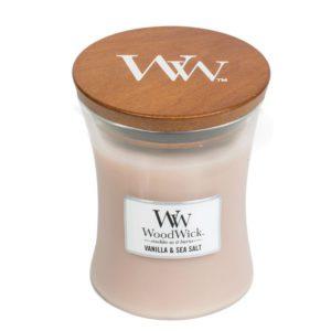 WoodWick® Medium Candle – Vanilla & Sea Salt