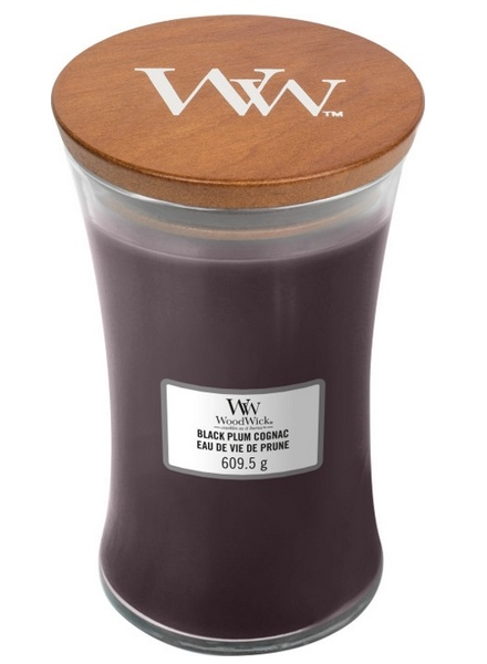 WoodWick® Large Candle – Black Plum Cognac