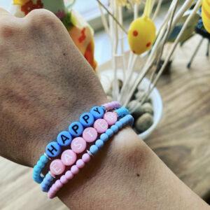 Easter- Handgemaakte Set van 3 kleurrijke Armbandjes.