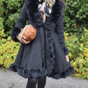 frolino – Mantel met een fake fur kraag